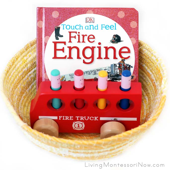 Book Basket with Fire Engine Book and Toy for Babies and Toddlers