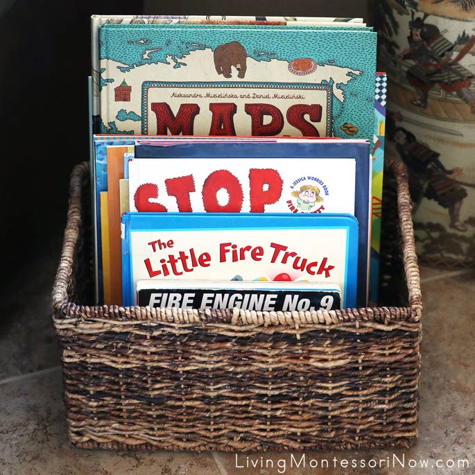 Book Basket with Some Montessori-Friendly Fire Safety Books