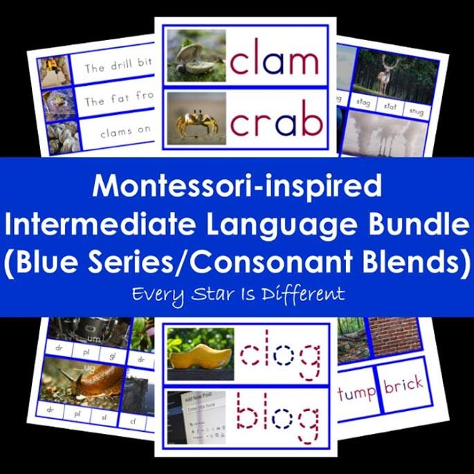 Montessori-Inspired Intermediate Language Bundle (Blue Series/Consonant Blends