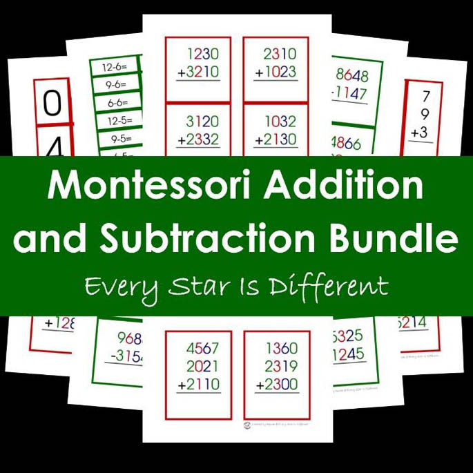 Montessori Addition and Subtraction Printable Pack Bundle
