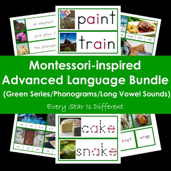 Every Star Is Different Montessori-Inspired Advanced Language Bundle (Green Series-Phonograms-Long Vowels)