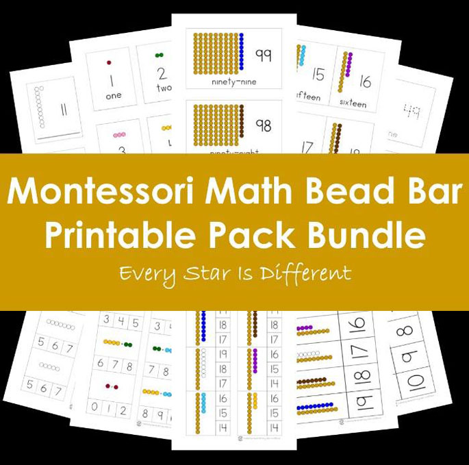 Montessori Math Bead Bar Printable Pack Bundle