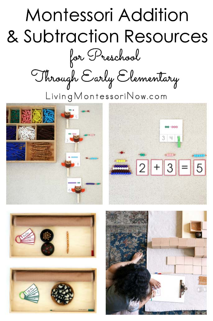 Montessori Addition and Subtraction Resources for Preschool through Early Elementary