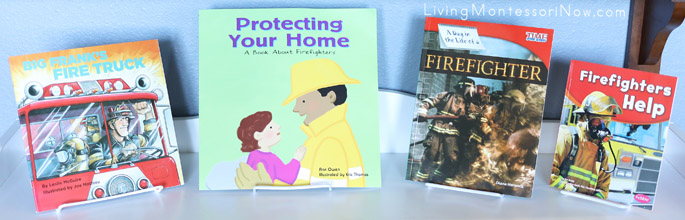 Montessori Shelf with Firefighter Books