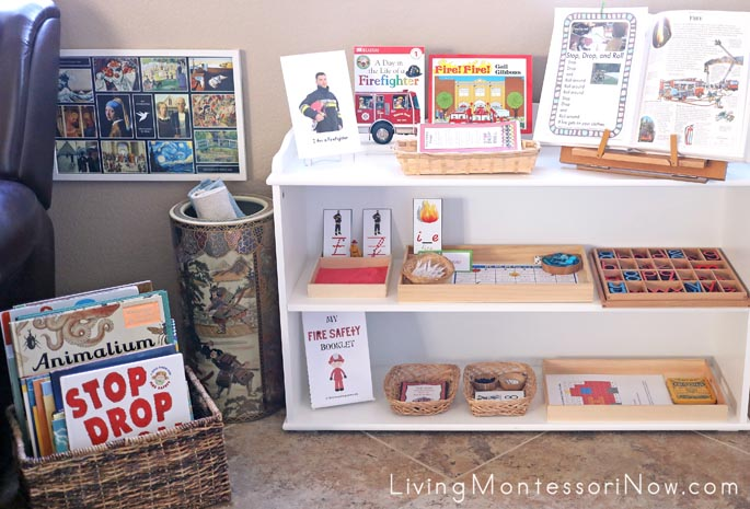 Montessori Shelves and Book Basket with Fire Safety Themed Books and Activities
