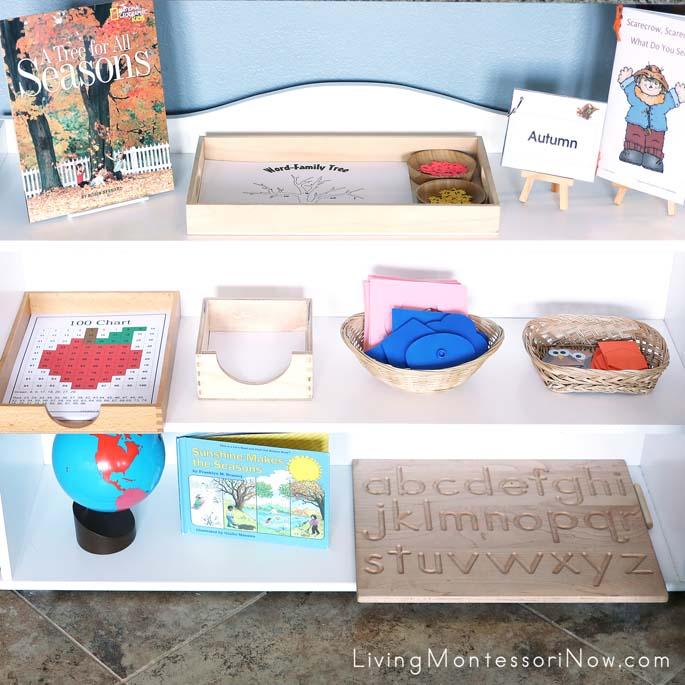 Montessori Shelves with a Mini Fall Theme