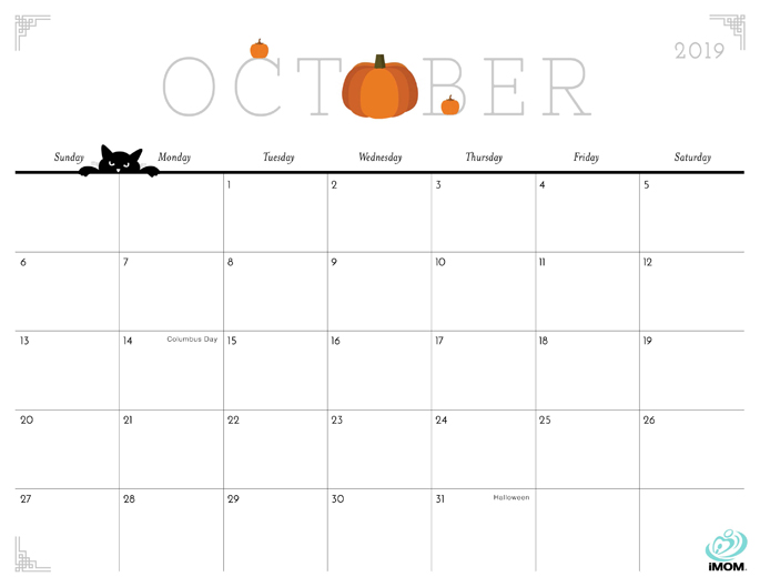 October 2019 Calendar from iMom
