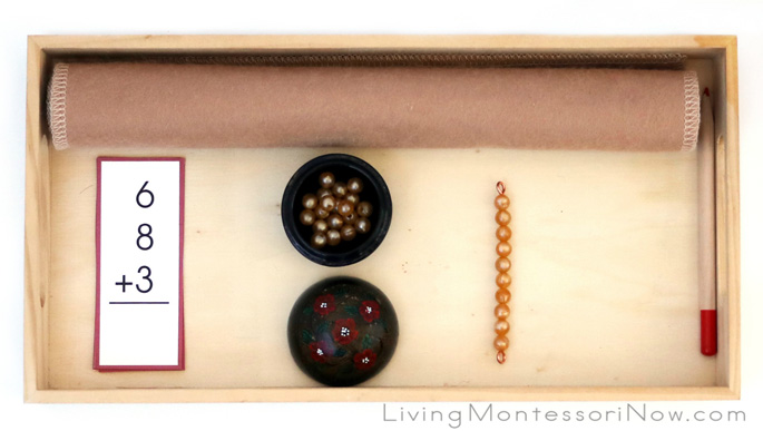 Tray with Montessori Materials for Adding 3 Single-Digit Numbers