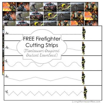 Free Firefighter Cutting Strips (Montessori-Inspired Instant Download)