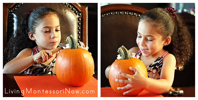 Hammering Golf Tees in a Pumpkin and Admiring Her Finished Design