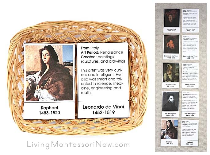 Montessori Artist Picture and Description Match Up Cards (Renaissance Artists)