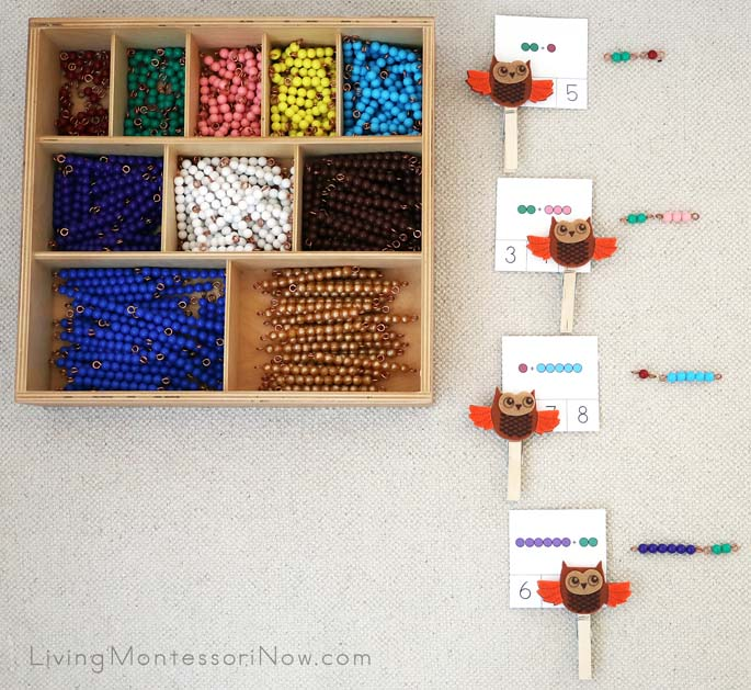 Montessori Bead Bar Addition Clip Card Layout with DIY Owl Clothespins