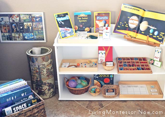 Montessori Book Basket and Shelves with Solar System Themed Books and Activities