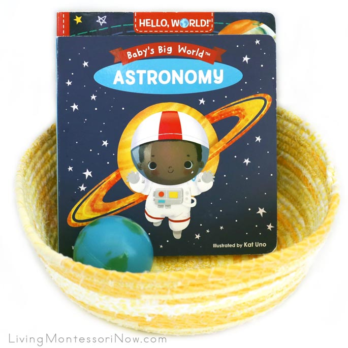 Montessori Space-Themed Book Basket for Babies and Toddlers