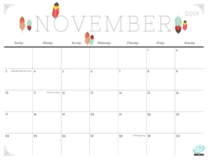 November 2019 Calendar from iMom