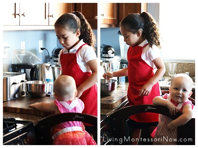 Preparing Pumpkin Seeds for Roasting While Her 10-Month-Old Sister Watches