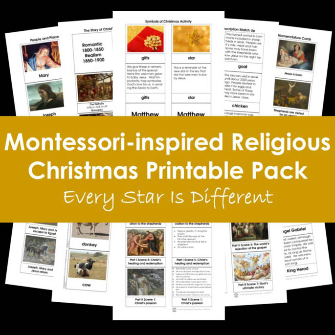 Every Star Is Different Montessori-Inspired Religious Christmas Printable Pack