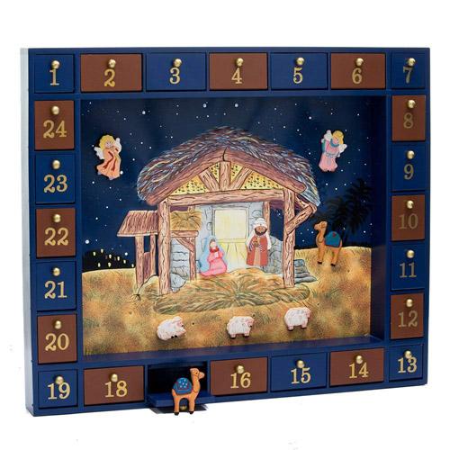 Kurt Adler Wooden Nativity Advent Calendar with 24 Magnetic Pieces