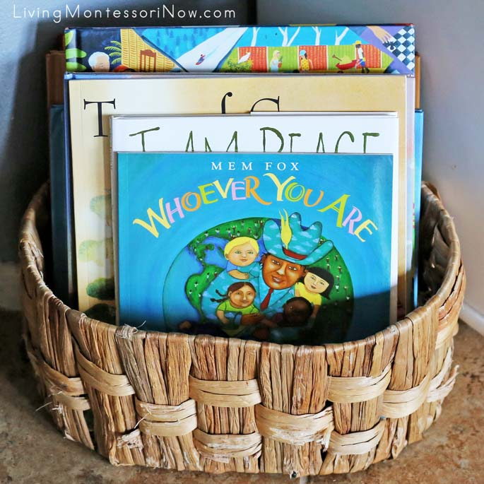 Montessori Book Basket with Multicultural and Peace Books