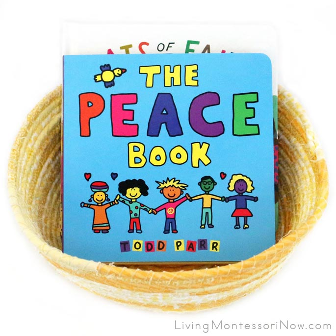 Montessori Book Basket with Peace Themed Books for Babies and Toddlers