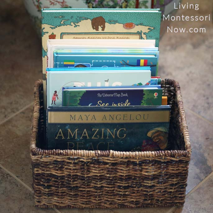 Montessori Book Basket with Peace and World-Themed Books