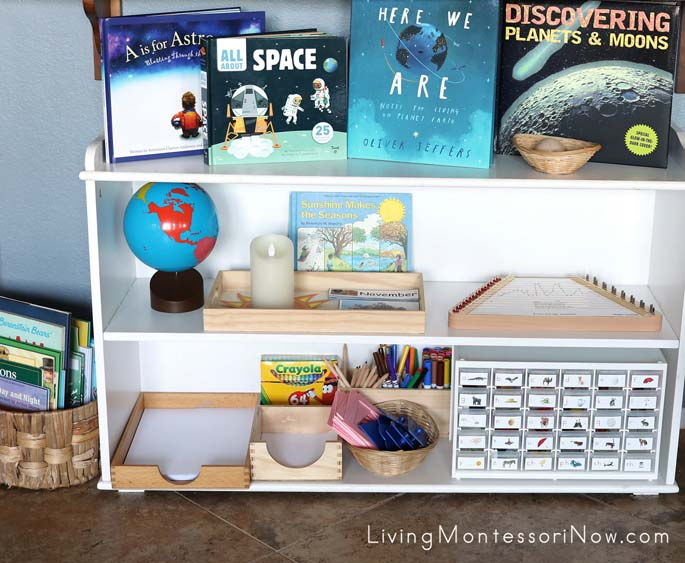 Montessori Language and Cultural Shelves with Solar System Theme