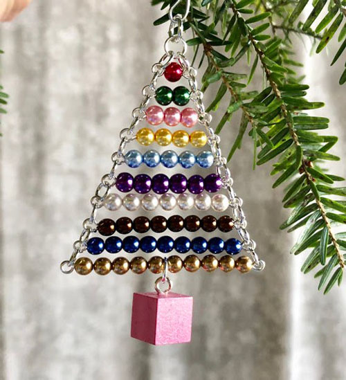 Montessori Ornament~Bead Stair with Pink Tower cube from My Bella Montessori on Etsy