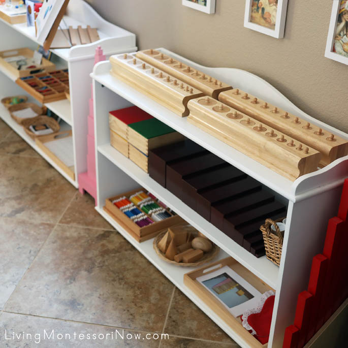Montessori Sensorial Shelves (Plus Themed Shelves in the Background)