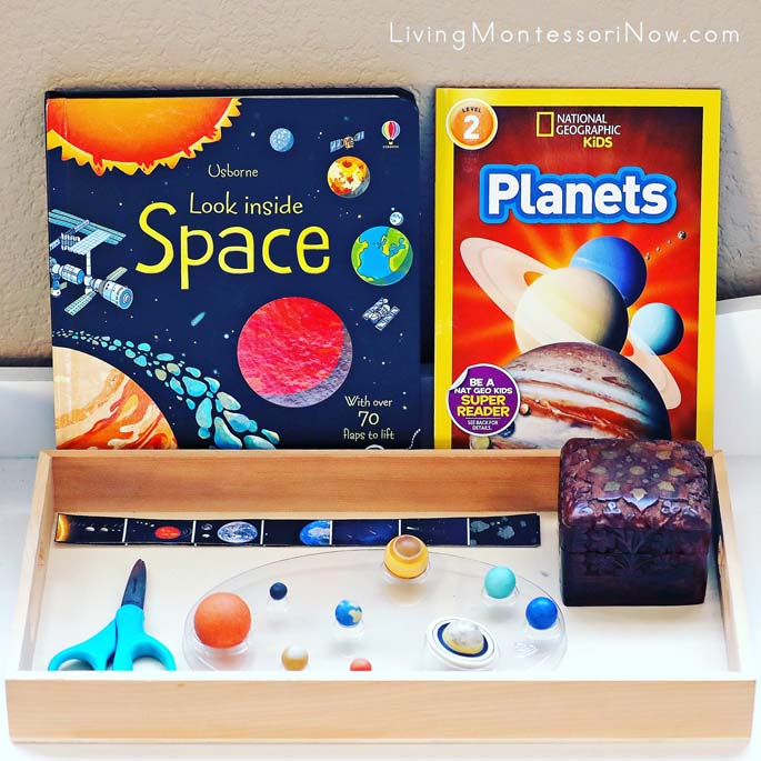 Montessori Shelf with Solar System Cutting Strips and Space Books