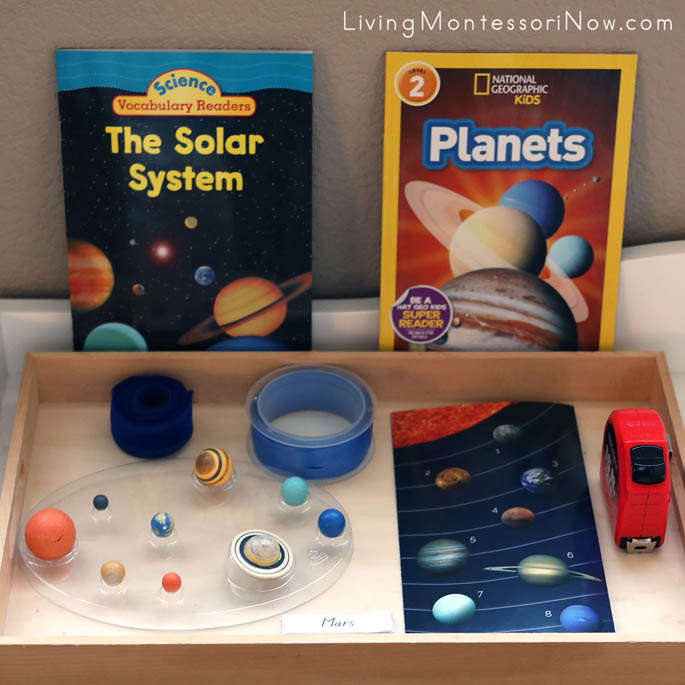 Montessori Shelf with Tray for Work with Scale Distances of Planets from the Sun