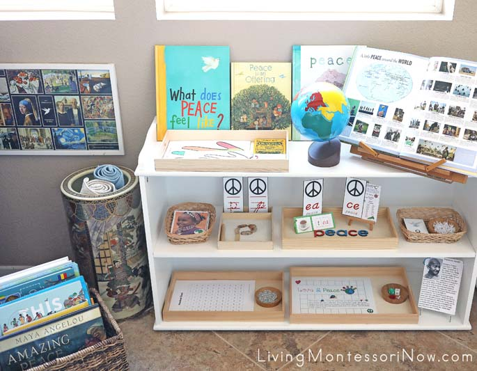 Montessori Shelves and Book Basket with Peace Themed Books and Activities