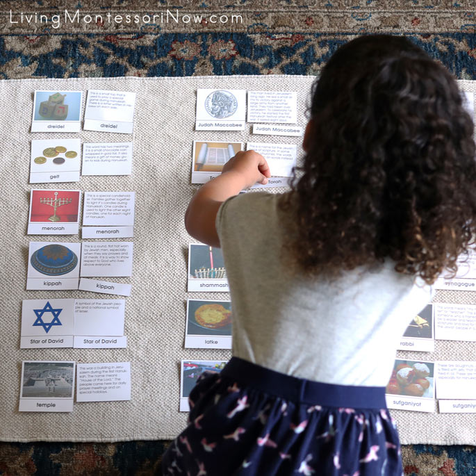 Working with Hanukkah Picture and Definition Match-up Cards