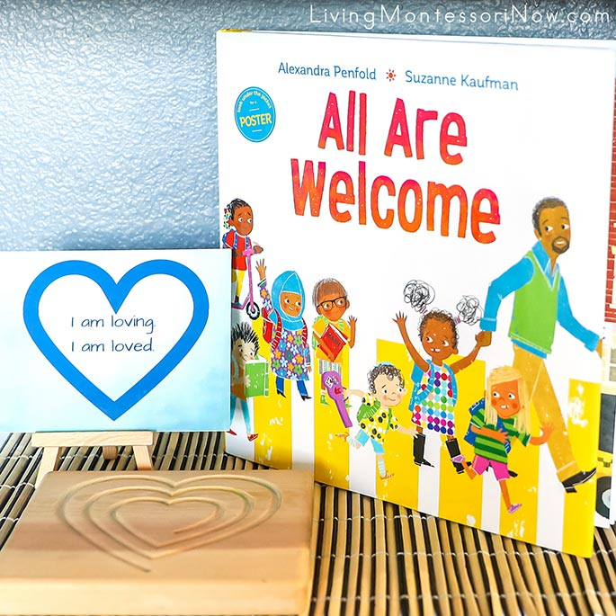 All Are Welcome Book with Heart Montessori Mindfulness Board