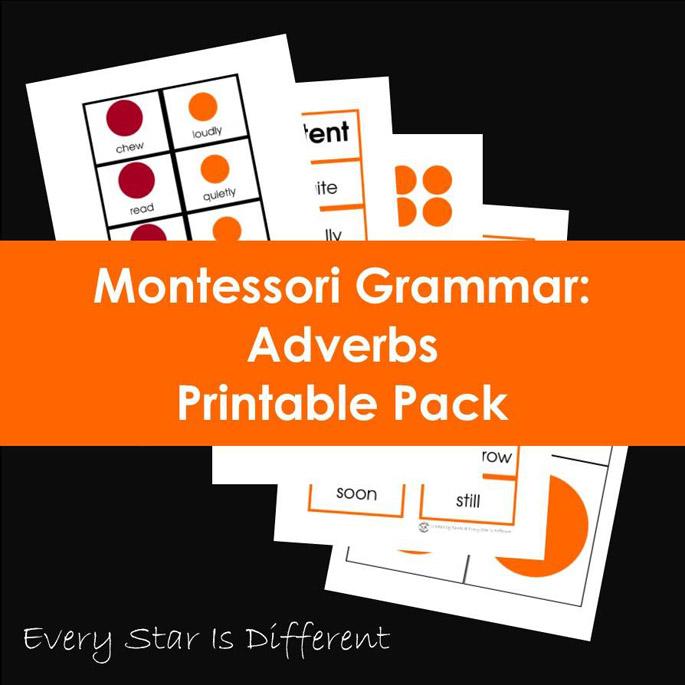 Montessori Grammar: Adverbs Printable Pack