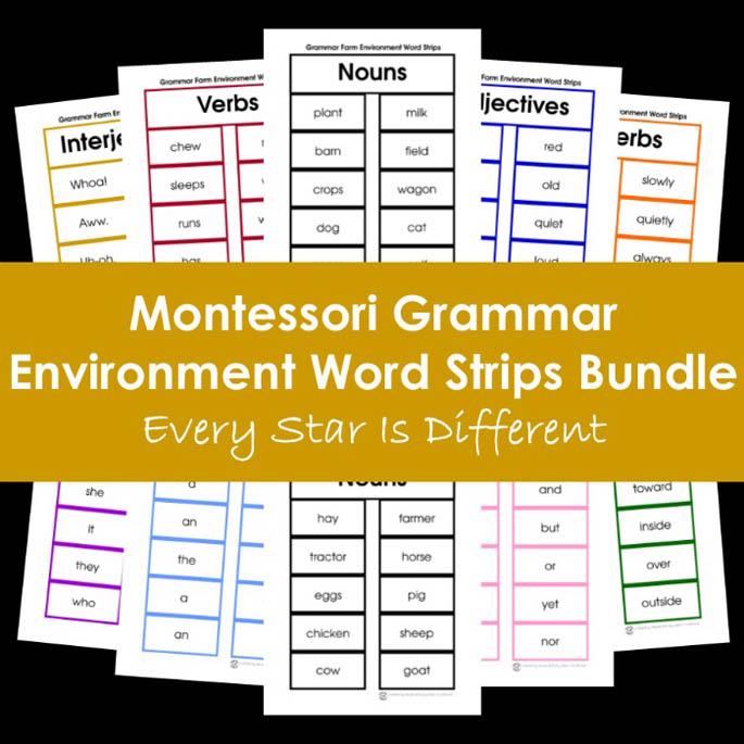 Montessori Grammar Environment Word Strips Bundle