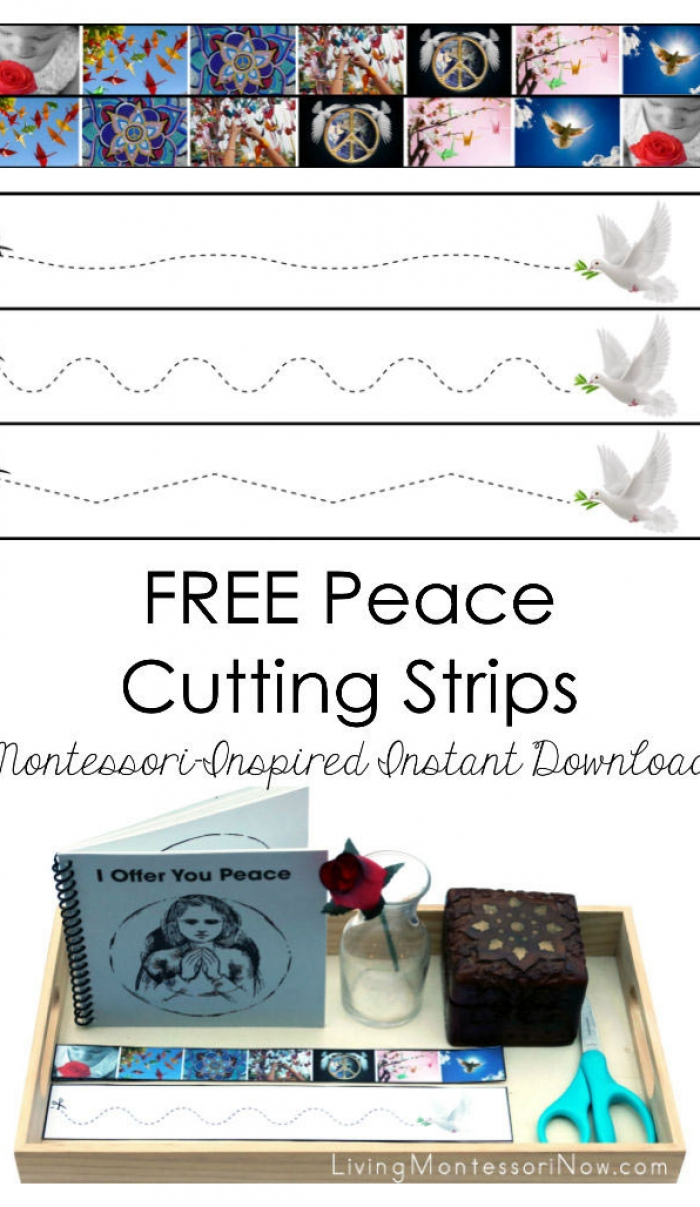 FREE Peace Cutting Strips (Montessori-Inspired Instant Download)