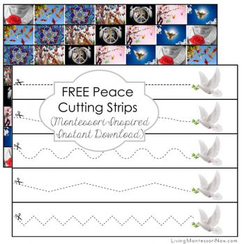 Free Peace Cutting Strips (Montessori-Inspired Instant Download