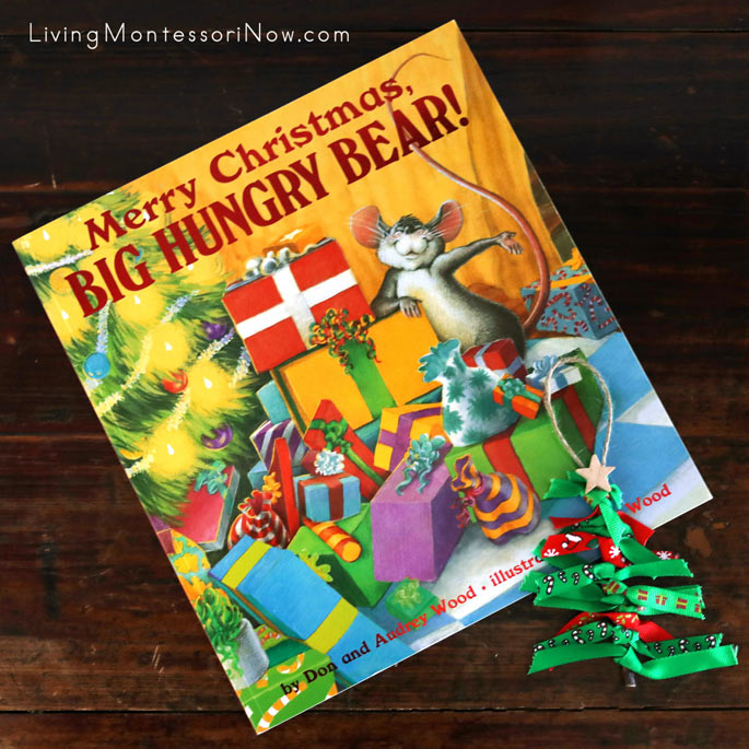 Merry Christmas, Big Hungry Bear with Scrap Ribbon Christmas Tree Ornament