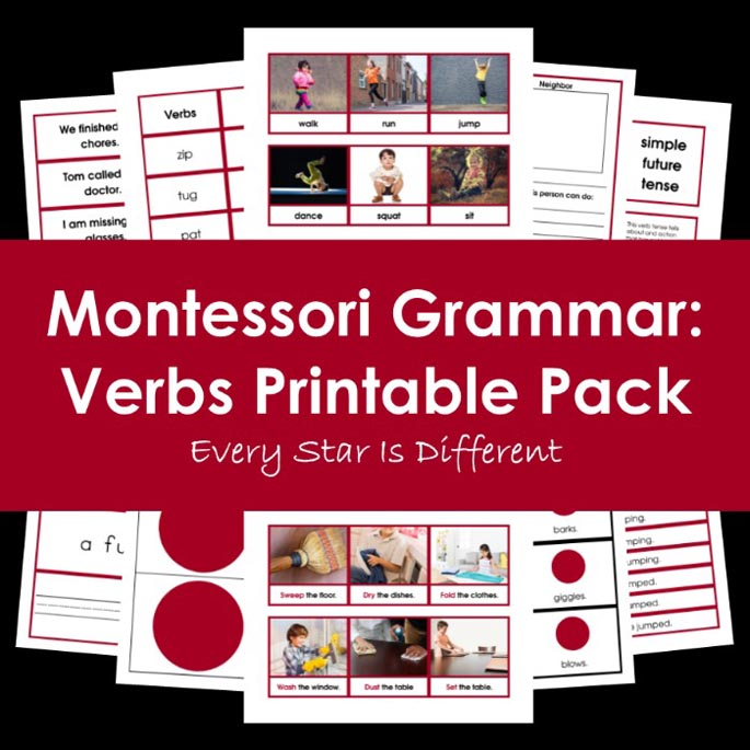 Montessori Grammar - Verbs Printable Pack from Every Star Is Different