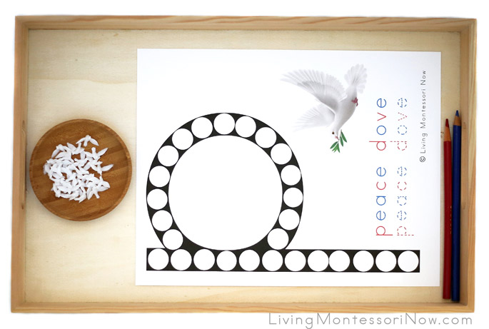 Tray with P for Peace Dove Do-a-Dot Printable and Miniature Doves
