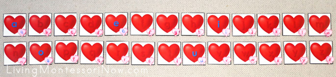 Alphabetical Order Layout of Heart Movable Alphabet with Acrylic Heart Movable Alphabet