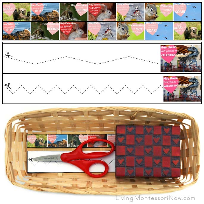 Animal Valentine Cutting Strips with Basket