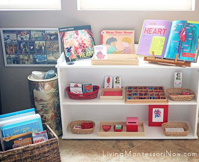 Book Basket and Montessori Shelves with Heart Themed Activities