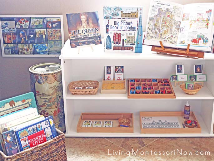 Book Basket and Montessori Shelves with King and Queen Themed Activities