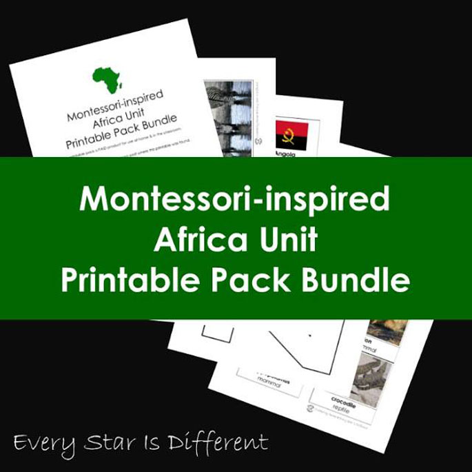 Every Star Is Different Montessori-Inspired Africa Unit Printable Pack Bundle