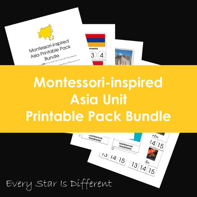 Every Star Is Different Montessori-Inspired Asia Unit Printable Pack Bundle