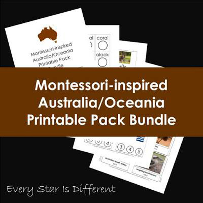 Every Star Is Different Montessori-Inspired Australia-Oceania Printable Pack Bundle