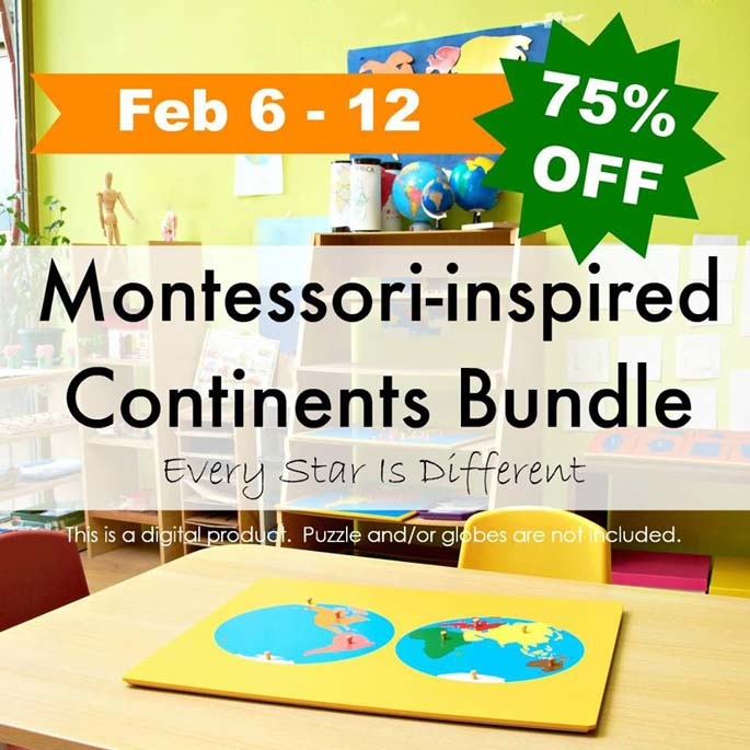 Every Star Is Different Montessori-Inspired Continents Bundle 75% Off February 6-12
