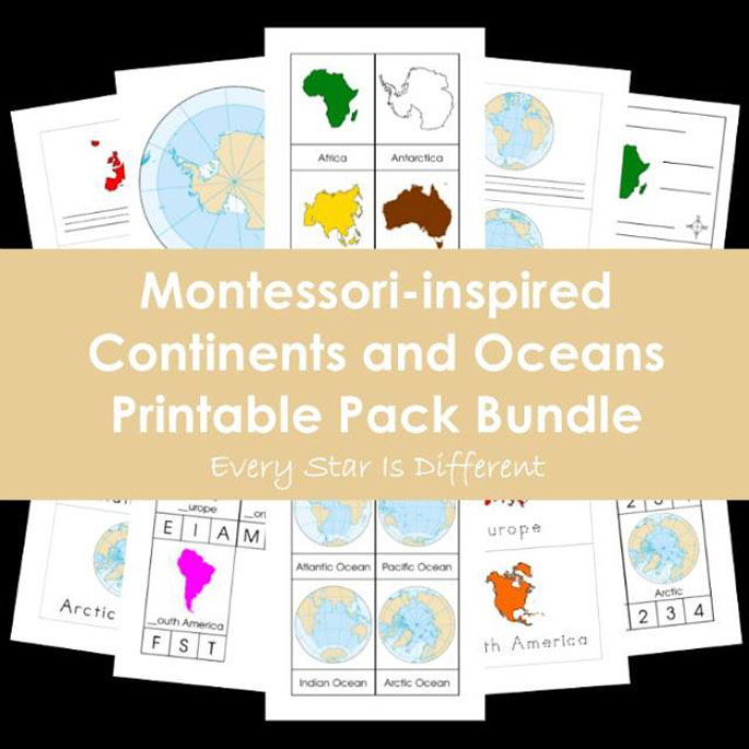 Every Star Is Different Montessori-Inspired Continents and Oceans Printable Pack Bundle