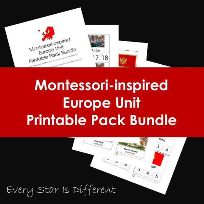 Every Star Is Different Montessori-Inspired Europe Unit Printable Pack Bundle